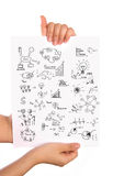 Hand hold paper with graph. Hand hold Business concept and graph drawing on white paper Stock Image
