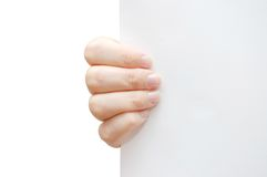 Hand Hold Paper Isolated On White Background Stock Photos
