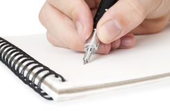 Hand hold a pen writing Royalty Free Stock Image