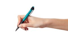 Hand hold a pen writing on the white Royalty Free Stock Photo