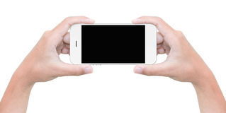 Hand hold phone isolated on white with clipping path Stock Photos
