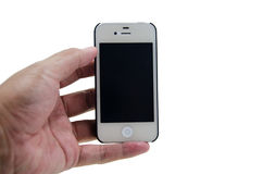 Hand hold phone. Hand hold smartphone on white background isolate Royalty Free Stock Images