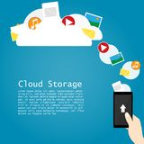 Hand hold phone upload cloud storage vector. Hand hold phone upload cloud storage anywhere vector Stock Images
