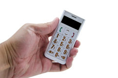 Hand hold phone. On white background isolate Stock Photos
