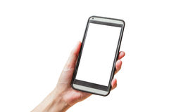 Hand hold phone on white Royalty Free Stock Image