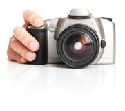 Hand hold photo camera. isolated on white Royalty Free Stock Image