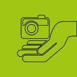 Hand hold photographic camera e-commerce icon royalty free illustration