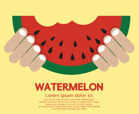 Hand Hold A Piece Of Watermelon. Royalty Free Stock Photography