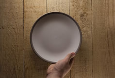 Hand hold plate on wood