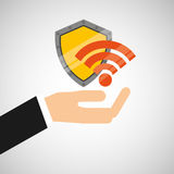 Hand hold protected concept wifi Royalty Free Stock Images