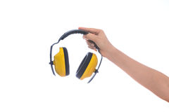 Hand hold Protective ear muffs Isolated Stock Photography