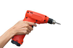 Hand hold red drill Stock Image