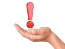 Hand hold red exclamation mark on white background Stock Image