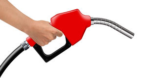 Hand hold red fuel nozzle on a white Royalty Free Stock Photos