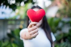 Hand are hold a red heart in the evening to replace the love in the Valentine.Give heart or love and concern to each other.Have stock image