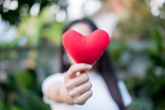 Hand are hold a red heart in the evening to replace the love in the Valentine.Give heart or love and concern to each other.Have stock photo