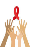 Hand with hold red ribbon. Stock Image