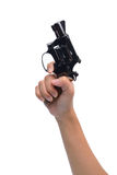 Hand hold revolver gun isolated Stock Images