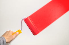 Hand hold roll tool for painting Royalty Free Stock Images