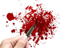 Hand hold rusty knife cutter with grunge of blood Royalty Free Stock Images