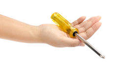 Hand hold screw driver Stock Photos