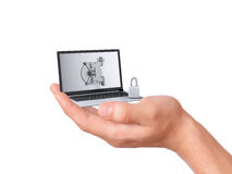 Hand hold security Laptop. Data security concept. Royalty Free Stock Photo