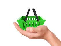 Hand hold a Shopping cart. commerce concept Stock Photo