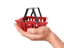 Hand hold a Shopping cart. commerce concept. Image of hand hold a Shopping cart. commerce concept on white background Stock Photos