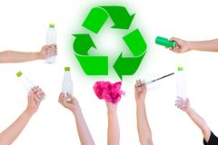 Hand hold show Recyclable Symbol plastic bottle. A white background Royalty Free Stock Image