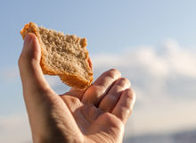 Hand hold a slice of bread. Royalty Free Stock Image
