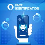 Hand Hold Smart Phone Face Identification Technology Scannig Man Access Control System Biometrical Recognition Concept Stock Photos