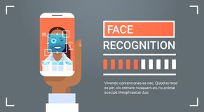 Hand Hold Smart Phone Scanning African American Female Iris Face Recognition Technology Banner Biometric Identification. System Vector Illustration Stock Image