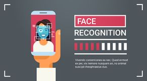 Hand Hold Smart Phone Scanning Female Iris Face Recognition Technology Banner Biometric Identification System. Vector Illustration Royalty Free Stock Photography