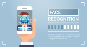 Hand Hold Smart Phone Scanning Male Iris Face Recognition Technology Banner Biometric Identification System. Vector Illustration Royalty Free Stock Images