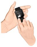 Hand hold smart-watch. Gesture Tap. Stock Photo