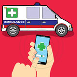 Hand hold smartphone with Ambulance Royalty Free Stock Photos