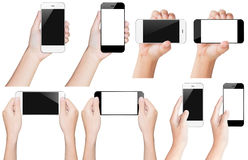 Hand hold smartphone black and white with clipping path Stock Photos