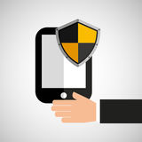 Hand hold smartphone protection shield Stock Image
