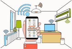 Hand Hold Smartphone With Smart Home Control System Application Over Modern House Interior Background. Vector Illustration Stock Photo