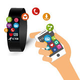 hand hold smartphone smart watch sharing tech device Stock Photography