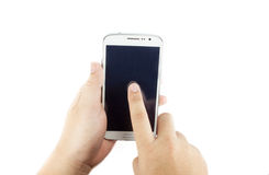 Hand hold smartphone and touch on screen islated on white backgr Royalty Free Stock Image