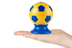 Hand hold Soccer ball Stock Photos