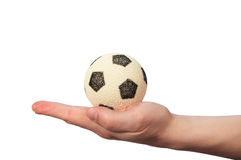 Hand hold soccer ball. On white Royalty Free Stock Photo
