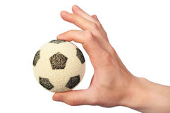 Hand hold soccer ball Stock Images