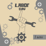 Hand Hold Spanner Wrench, Point Finger Up, International Labor Day May Holiday Royalty Free Stock Image