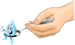 Hand hold spoon with drop of syrup cartoon Royalty Free Stock Photos