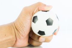 Hand hold sport balls, football isolated Royalty Free Stock Photos