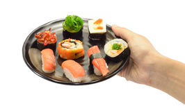 Hand hold sushi food Royalty Free Stock Photo