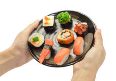 Hand hold sushi food Stock Photos