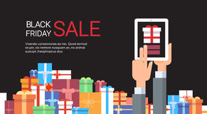 Hand Hold Tablet Big Holiday Sale Black Friday Online Shopping. Flat Vector Illustration Stock Images